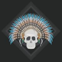 skull indian front vector