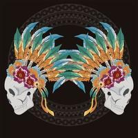 skulls indians profiles vector