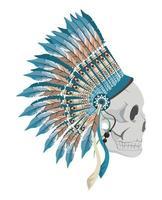 skull profile indian vector