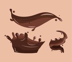 set chocolate splashes vector