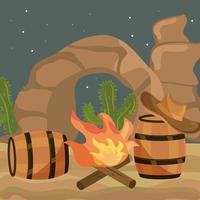 wild west bonfire vector