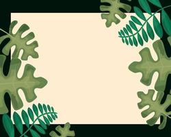 tropical leaves banner vector