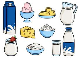 Milk and dairy products food set vector