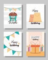 birthday cards set vector