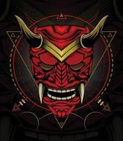 Kabuki or red devil face illustration. Head of red demon Japanese samurai mask. vector
