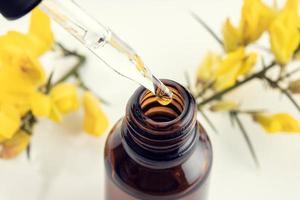 Cerca de una pipeta botella ámbar y rama de flor amarilla foto