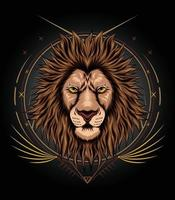 Lion face illustration design with ornament background vector