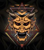 Devil face illustration, head of demon vector