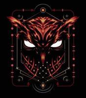 Owl illustration with spiritual symbol vector