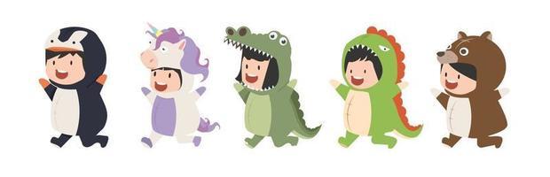 kid characters in Animals costumes cartoon Set vector
