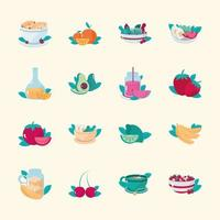 healthy meals breakfast cereal salad juice fruits and vegetables icons vector