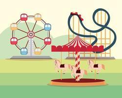 amusement park carnival ferris wheel roller coaster and carousel vector
