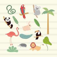 animales arbol tropical vector
