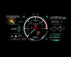 Futuristic car speed dashboard concept and logo icon vector design