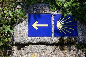 Camino de Santiago sign tiles on rock on outdoor pilgrimage to Santiago de Compostela photo