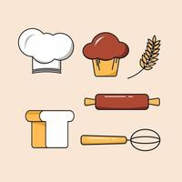 Set of food and kitchen tools vector