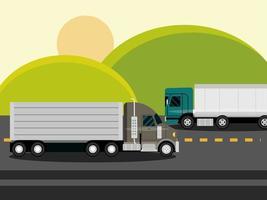 Camiones que se mueven por la carretera de asfalto los campos verdes en el paisaje rural vector