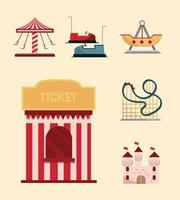 set amusement park carnival tickets booth bumper cars castle carousel and roller coaster vector