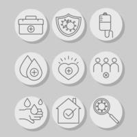set vaccine science medical kit first aid stay at home social distance line icon vector