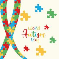 autism awareness day puzzles shaped ribbon health card vector