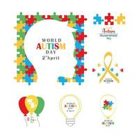 set autism awareness day head child ribbon balloon and bulb vector