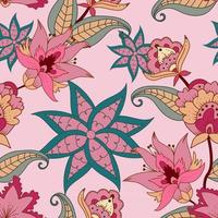 Seamless folk pattern with floral design vector
