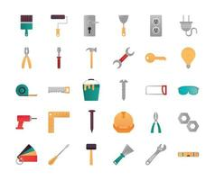 home repair renovation tools and equipment icons brush trowel ruler tape measure drill vector