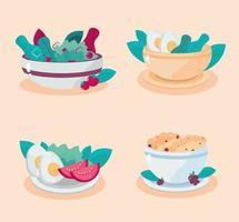 comidas saludables ensalada de cereales huevo tomate lechuga vector