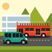 bus and minibus on the street city cartoon vector