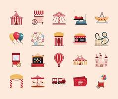 set amusement park carnival tent booth game ticket wheel carousel roller coaster vector