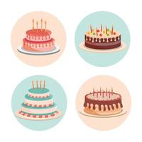 birthday cakes with candles and delicious cream vector