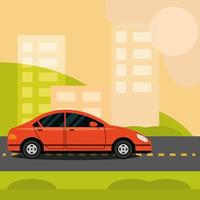 car traffic on the highway cityscape street city transport vector