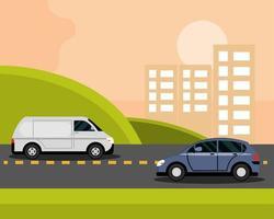 Coches en carretera asfaltada en edificios de la ciudad en el transporte de la ciudad de fondo vector