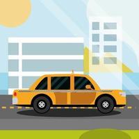 Servicio de taxi taxi road sobre el paisaje urbano de la ciudad transporte vector
