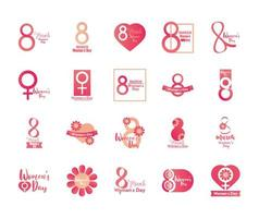 womens day lettering banner card 8 march celebration icon set vector