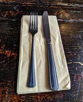 knife fork napkin photo