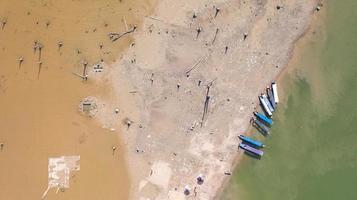Aerial top view of Tour boat at Sangklaburi in Kanchanaburi province Thailand photo