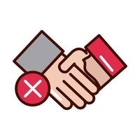 avoid handshake sick people prevent spread of covid19 line and file icon vector