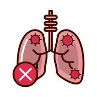disease pneumonia lungs prevent spread of covid19 line and file icon vector