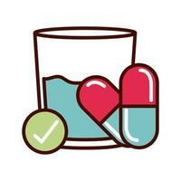medication prevent spread of covid19 line and file icon vector