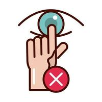 avoid touch eye prevent spread of covid19 line and file icon vector