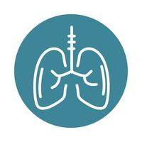 virus covid 19 pandemic respiratory condition lungs block line style icon vector