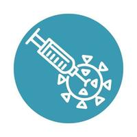 covid 19 pandemic injecting the virus science block line style icon vector