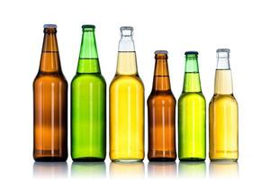 Group of Six bottles of beer isolated on white background photo