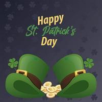 Feliz día de San Patricio letras con sombreros de elfo y monedas vector