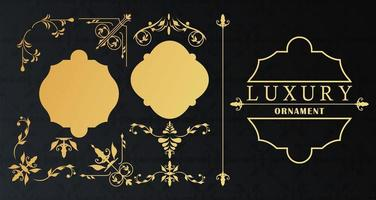 set of three luxury golden frames with victorian style in black background vector