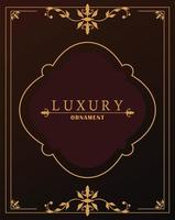 luxury golden frame with victorian style in red wine background vector