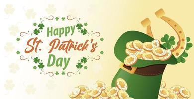 Feliz día de San Patricio letras con monedas y herradura en sombrero de copa elfo vector