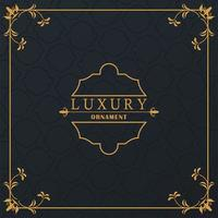 luxury golden frame with victorian style in black background vector