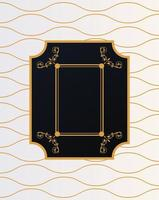 luxury frame with victorian style in golden waves background vector